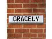 Vintage parts USA VPAY1AC8A Gracely White Stamped Aluminum Street Sign Mancave Wall Art