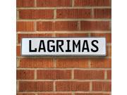 Vintage parts USA VPAY20613 Lagrimas White Stamped Aluminum Street Sign Mancave Wall Art