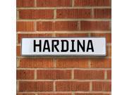 Vintage parts USA VPAY1B545 Hardina White Stamped Aluminum Street Sign Mancave Wall Art