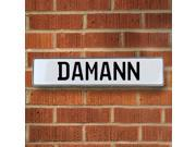 Vintage parts USA VPAY1573D Damann White Stamped Aluminum Street Sign Mancave Wall Art