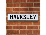 Vintage parts USA VPAY1B774 Hawksley White Stamped Aluminum Street Sign Mancave Wall Art