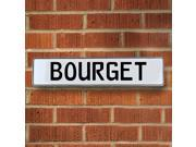 Vintage parts USA VPAYE22D Bourget White Stamped Aluminum Street Sign Mancave Wall Art