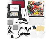 Nintendo 3DS XL Red Bundle with Super Smash Bros & 17 in 1 Kit