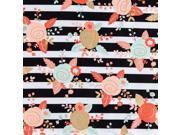 Black, White, Mint & Blush Piper Floral Apparel Fabric
