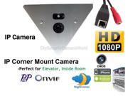 1920 x 1080 HD IP Corner Mount Security Camera 3.6mm Wide Angle Lens, Array LED, Built-in microphone,P2P, ONVIF, Mobile Phone View. Prefect for Elevator, Inside