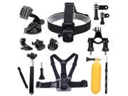 Luxebell 9-in-1 Basic Common Accessories for Gopro Hero 4, Session, Black, Silver, Hero+ LCD, 3+, 3, 2 Camera, Chest Harness Mount / Head Strap / Floating Grip / Bike Mount / Suction Cup / Gopro Pole