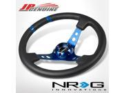 """NRG ST-016R-BL 350MM 6-HOLE BOLTS 3"""" DEEP DOUBLE MARK STYLE RACNG STEERING WHEEL"""