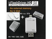 set i-Flash Driver HD U-disk Lightning data for iPhone/iPad/iPod,micro usb interface flash drive for PC/MAC 32G