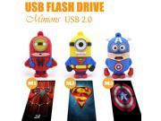 Minions Super hero Super Man Spider Man Captain America USB Flash drive U disk 4 /8/16/32/64GB pen drive flashdrive memory stick 9SIAC5C5AA7171