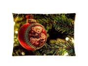 Christmas Teddy Bear Bauble Pillowcases Custom Pillow Case Cushion Cover 20 X 26 Inch Two Sides