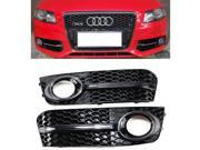 Chrome Glossy S Line Style Bumper Grills Fog Light Grilles Cover For 2009-2011 VW Audi A4 B8