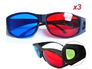 3 Pcs Digital Red Blue 3D Glasses Black Frame For Home Theatre 3D Games Movies 9SIV0JP3G38406