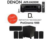 Denon AVR-X4200W Receiver + Definitive ProCinema 1000 Speaker System (Black)