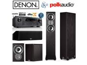 Denon AVR-X1300W Receiver Bundle with Polk Audio (2) TSi300 (2) TSi100 (1) CS10