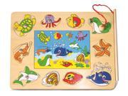 Magnetic Fishing Puzzle Ocean Life Wooden Wood 9 Piece Puzzle Toy Game 9SIA7W92UX4699