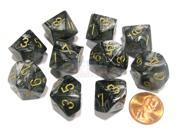 Set of 10 Chessex Lustrous D10 Dice - Black with Gold Numbers