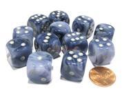 Phantom 16mm D6 Chessex Dice Block (12 Dice) - Black with Silver Pips