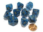 Set of 10 Chessex Phantom D10 Dice - Teal with Gold Numbers