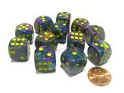 Festive 16mm D6 Chessex Dice Block (12 Dice) - Rio with Yellow Pips