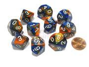 Set of 10 Chessex Gemini D10 Dice - Blue-Orange with White Numbers
