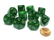 Set of 10 Chessex D10 Dice - Velvet Green with Silver Numbers