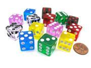 Pack of 14 16mm D6 Transparent Dice- 2 of Red Clear Green Black Blue Pink Yellow 9SIA7W94G25014