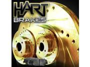 [FRONT KIT] Gold Hart *DRILLED & SLOTTED* Disc Brake Rotors + Ceramic Pads F2821