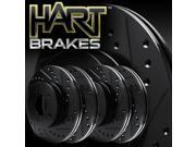[2 FRONT + 2 REAR] Black Hart *DRILLED & SLOTTED* Disc Brake Rotors C2056