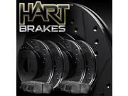 [FRONT+REAR KIT] Black Hart *DRILLED & SLOTTED* Brake Rotors +Ceramic Pads C1287