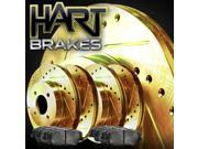 [FRONT+REAR KIT] Gold Hart *DRILLED & SLOTTED* Brake Rotors + Ceramic Pads C1270