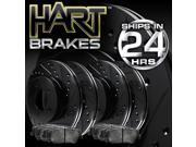 [FRONT+REAR KIT] Black Hart *DRILLED & SLOTTED* Brake Rotors +Ceramic Pads C2438