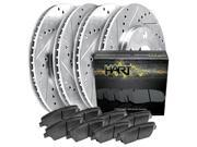 [FRONT+REAR KIT]Platinum Hart -*DRILL & SLOT* Brake Rotors  +CERAMIC Pads- 1111