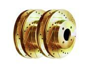 [2 FRONT + 2 REAR] Gold Hart *DRILLED & SLOTTED* Disc Brake Rotors C2934