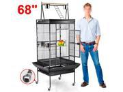 "Yaheetech 68"" Pet Bird Large Cage Play Top Parrot Finch Cage Macaw Cockatiel Cockatoo Parakeet Pet Supply Black"