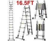 Yaheetech 5m 16.5ft Multi-purpose Aluminum Folding Telescopic Collapsible A Frame Shape Extension Ladder