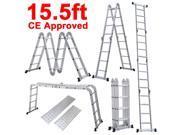 Yaheetech 15.5FT Step Platform Multi Purpose Aluminum Folding Step Platform Scaffold Ladder 330LB