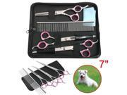 Yaheetech Professional Pet Grooming Scissors Set Cutting Thinning Curved Scissors Kit With Pouch and Comb Set 9SIA7YZ5VR8114