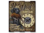 Image of American Expedition Lrg Wooden Clock-Dog Days-Black Lab