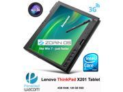 Lenovo ThinkPad X201 Tablet (3113-CJ5) Intel i7 2.00GHz 4GB RAM 128GB SSD, Webcam, Bluetooth, WLAN, LAN, Linux Zorin 9 OS, charger & pen