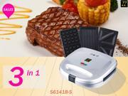 ZZ S6141B-S 3 in 1 Breakfast Sandwich and Waffle Press with 3 Sets of Detachable Non-stick Plates - Silver