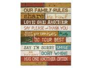 """Motivational Poster, 16 x 20, """"Our Family Rules"""", Dark Walnut"""