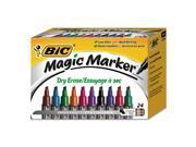 BIC GELITP241-AST Low Odor And Bold Writing Dry Erase Marker, Chisel Tip, Assorted, 24/Pack
