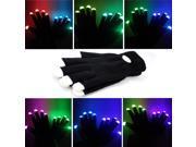 Foxnovo Novelty 7-mode LED Gloves Rave Light Finger Lighting Flashing Glowing Unisex Gloves - One Pair (Black)