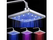 Foxnovo 8-inch Temperature Control 3-Color Changing LED Light Square Shaped Water Shower Head Shower Faucet Nozzle