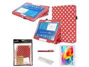 Foxnovo Foxnovo 4-in-1 Polka Dots Pattern Folding PU Folio Flip Case Cover Stand Set for Samsung Galaxy Tab 4 10.1 T530 /T531 /T535 (Red)