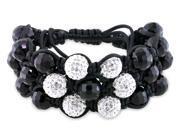 Cubic Zirconia and Black Bead Shamballa Black Silk Cord Cuff Bracelet