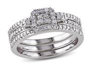 1/3 CT  Diamond TW Silver Bridal Ring Set