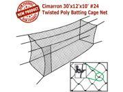 Cimarron 30x12x10 #24 Twisted Poly Batting Cage Net. BONUS! Includes Free Cimarron 4x6 Rubber Backstop. (Listing is for net only)