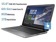 HP Pavilion 15t Premium Laptop, 15.6-inch Full HD IPS Touchscreen (1920 x 1080), 6th Gen Intel Core i5-6200u Processor, 8GB DDR3L RAM, 1TB HDD, SuperMulti DVD Burner, Windows 10