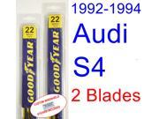 1992-1994 Audi S4 Replacement Wiper Blade Set/Kit (Set of 2 Blades) (1993)